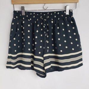 Anthropologie Elevenses Navy Tan Polka Dots Shorts